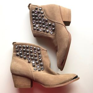 Chinese Laundry Spy Stud Booties Latte Suede 6.5